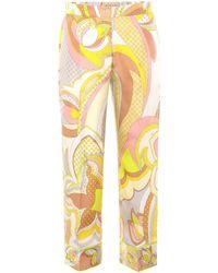 Emilio Pucci - Printed Silk Cropped Trouser - Lyst