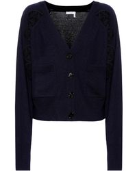 Chloé - Lace-panelled Wool Cardigan - Lyst