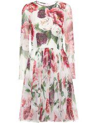 Dolce & Gabbana - Floral-printed Silk Dress - Lyst
