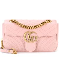 70cb1823921 Lyst - Gucci Gg Marmont Matelassé Leather Crossbody Bag in Pink