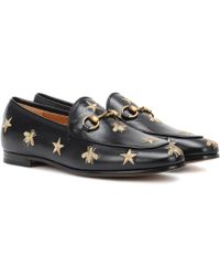 b76b5778839 Gucci - Jordaan Embroidered Leather Loafers - Lyst