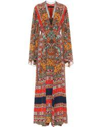 Etro - Printed Silk Maxi Dress - Lyst