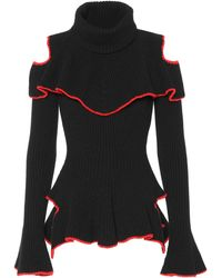 Alexander McQueen - Ruffled Wool And Cashmere Jumper - Lyst