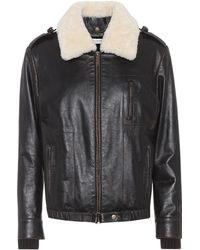 Saint Laurent - Shearling-trimmed Leather Jacket - Lyst