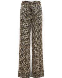 Victoria, Victoria Beckham - Pantalon large en soie imprimée - Lyst