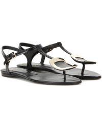 Roger Vivier - Thong Chips Embellished Leather Sandals - Lyst