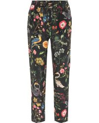 RED Valentino - Floral-printed Silk Trousers - Lyst