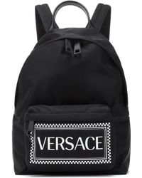 Versace - Logo Backpack In Black And White Nylon - Lyst
