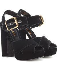 5dcbe7bb844d Lyst - Prada Suede Platform Sandals in Black