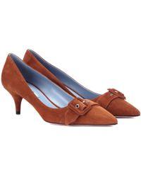 Prada - Suede Kitten Heel Court Shoes - Lyst