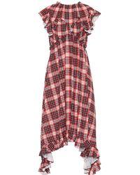 MSGM - Checked Satin Midi Dress - Lyst
