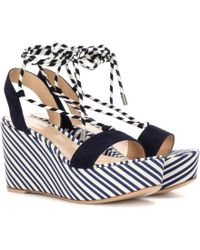 Gianvito Rossi - Antibes Mid Suede Wedge Sandals - Lyst