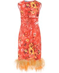Prada - Feather-trimmed Crêpe Dress - Lyst
