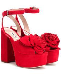 01b7bb515d7 Lyst - Miu Miu Velvet Block-heel Platform Sandals