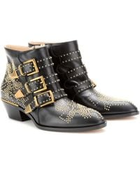 Chloé Boots Susanna Nappa Leather Black Rivets Gold