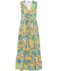 MSGM - Floral-printed Cotton Dress - Lyst