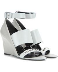 Balenciaga - Embellished Leather Wedge Sandals - Lyst