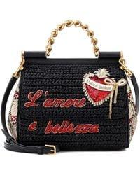 Lyst - Dolce   Gabbana Embellished Textured Leather-trimmed Raffia ... f6ee78d8de7c8
