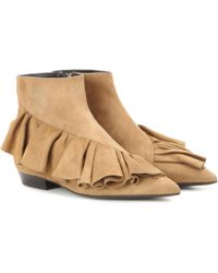 JW Anderson Ruffle Suede Ankle Boots - Natural