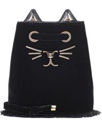 Charlotte Olympia - Feline Petit Velvet Bucket Bag - Lyst