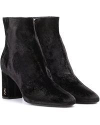 Saint Laurent - Loulou 70 Velvet Ankle Boots - Lyst