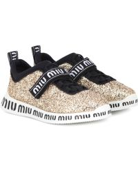 fda25577929e Lyst - Miu Miu Glitter Slip-on Sneakers in Metallic
