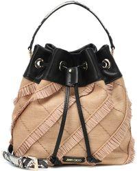 867560307ab1 Jimmy Choo - Juno Leather And Raffia Bucket Bag - Lyst