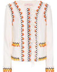 Tory Burch - Eleanor Embellished Linen Jacket - Lyst