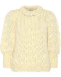 Ganni The Julliard Mohair-blend Sweater - Yellow
