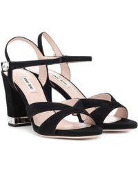 Miu Miu - Embellished Suede Sandals - Lyst