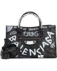 1a8375aad Balenciaga - Classic City Graffiti Small Leather Tote - Lyst
