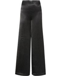 Ganni - Pantalones de satén de lunares - Lyst