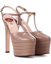 Gucci Angel Leather Platform Court Shoes