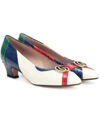 5f5fe9e11cbc Gucci Crystal-embellished Glitter Pumps in Metallic - Lyst