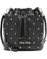 Miu Miu - Embellished Leather Bucket Bag - Lyst