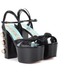 Gucci - Sandales en cuir à plateau et ornements - Lyst