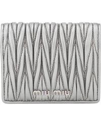 Miu Miu - Metallic Matelassé Leather Wallet - Lyst