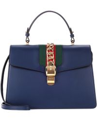 Gucci - Sylvie Embellished Leather Tote - Lyst