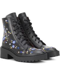KENZO - Pike Embroidered Leather Boots - Lyst
