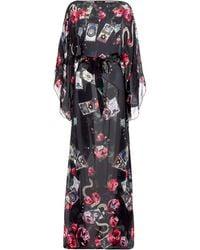 Roberto Cavalli - Printed Silk Kaftan Dress - Lyst