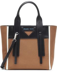 4a5a6e597fd888 Prada - Ouverture Small Leather-trimmed Tote - Lyst