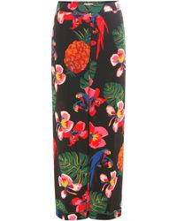 Valentino - Floral-printed Silk Trousers - Lyst