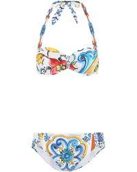Dolce & Gabbana - Majolica Printed Bikini - Lyst
