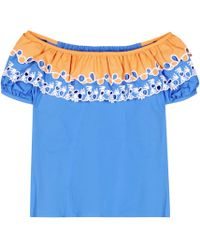 Peter Pilotto - Embroidered Off-the-shoulder Cotton Top - Lyst