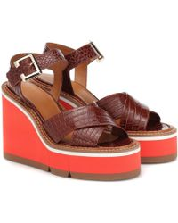 Clergerie - Alive Leather Wedge Sandals - Lyst
