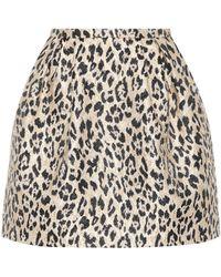 Valentino - Leopard Brocade Miniskirt - Lyst