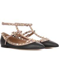 Valentino - Garavani Rockstud Leather Ballerinas - Lyst