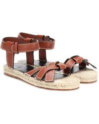 Loewe - Gate Flat Leather Sandals - Lyst