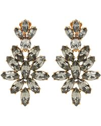 Oscar de la Renta - Gold-Plated Crystal Clip Earrings - Lyst