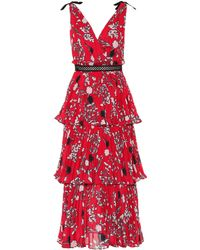 Self-Portrait - Floral Crêpe De Chine Dress - Lyst